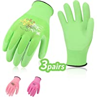 Vgo… 3Pairs Foam Rubber Coating Gardening and Work Gloves (Size M,Red+Green+Pink,RB6013)