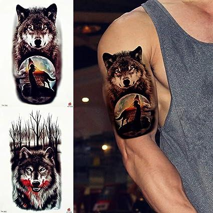 MRKAL Tribal Lobo Luna Aullido Tatuaje Temporal Etiqueta De La ...