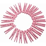 "TtoyouU Set of 72pcs Wooden Color Spring Clothespins Photo Peg Pin Clips (1.8"") (Pink)"