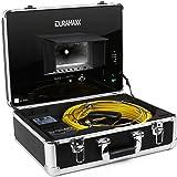 Duramaxx Inspex 4000 Profi videocamera per ispezioni (cavo da 40 m, porte USB e SD, uscita RCA, monitor a colori LCD da 7'', 12 LED, valilgietta, parasole, pannello comandi, telecomando) - nero