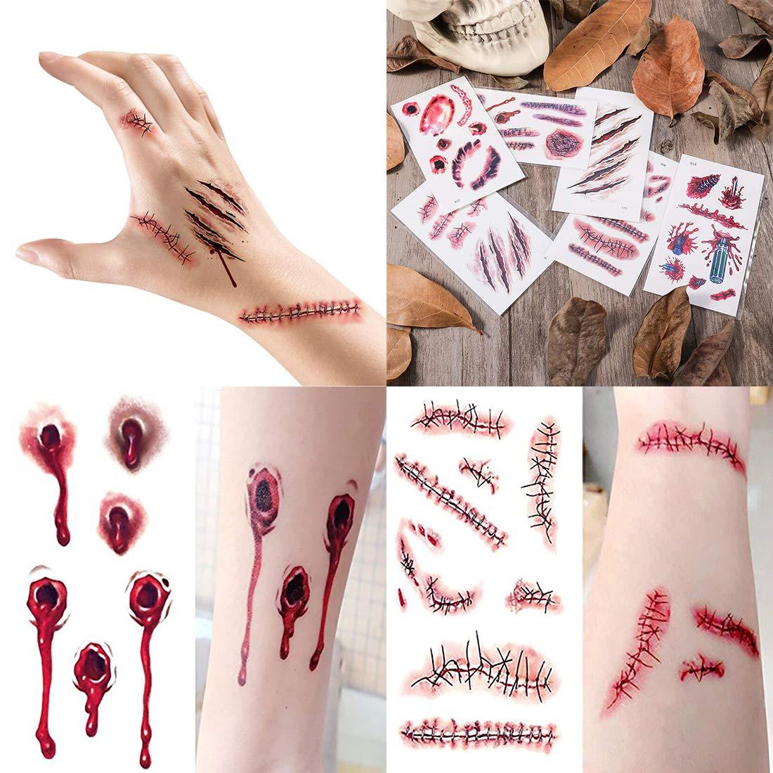 Amazon.com: Yomiie Halloween Tatuajes temporales pegatinas ...