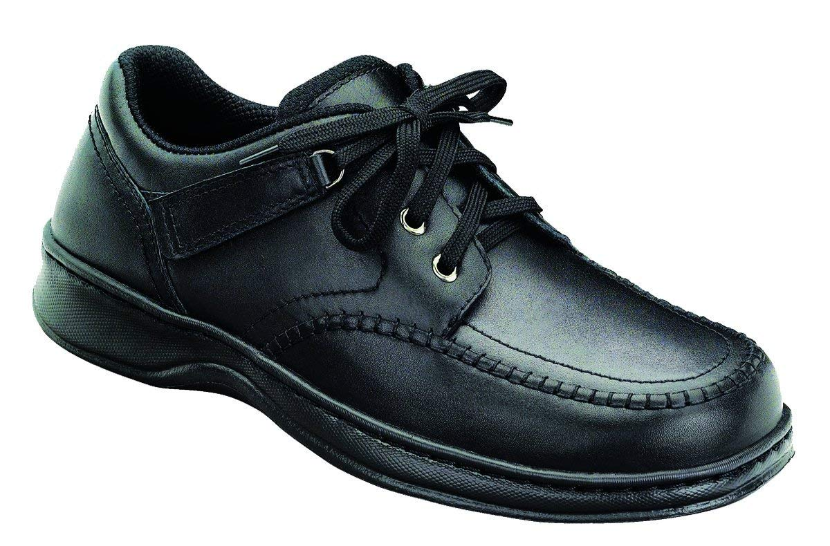 Orthofeet Jackson Square Comfort Orthopedic Diabetic Walking Shoes for Men Black Leather 10.5 W US