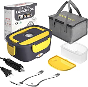 Electric Lunch Box [Upgraded],60W High-power Food Heater,12V 24V 110V 3 in1 Portable microwave for Car/Truck/Home–Leak proof,Removable 304 Stainless Steel Container fork & spoon and Carry Bag…