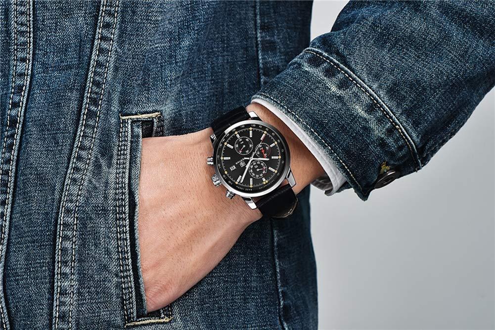 Gskj herrklocka kvartsur mode vattentät utomhussport kronograf läderrem multifunktionsklocka vardaglig herrklocka D