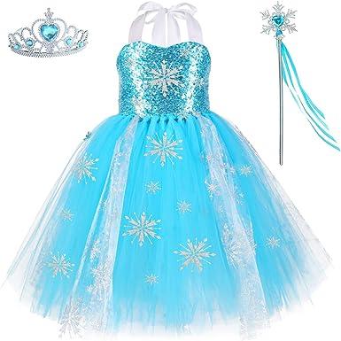 Handmade Queen Elsa Frozen Princess Tutu Tulle Dress Blue Girls Party Costume