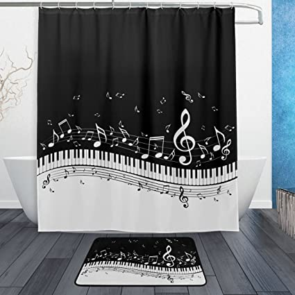 Traditional Black And White Music Note With Piano Keyboard Waterproof Polyester Fabric Shower Curtain 60quot