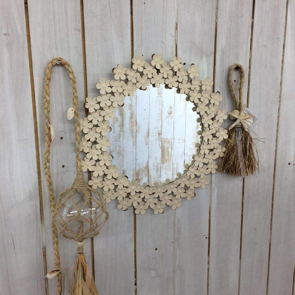 Off White Frame Finish Bathroom Vanity D/écor ESP730 Time Concept Shabby Iron Floral Round Wall Mount Mirror Small