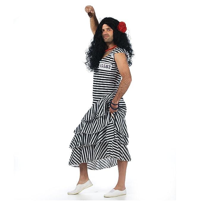 knast Hermana häftling novia Party Fun – Disfraz hombre de 1 piezas Flamenco vestido rayas blanco