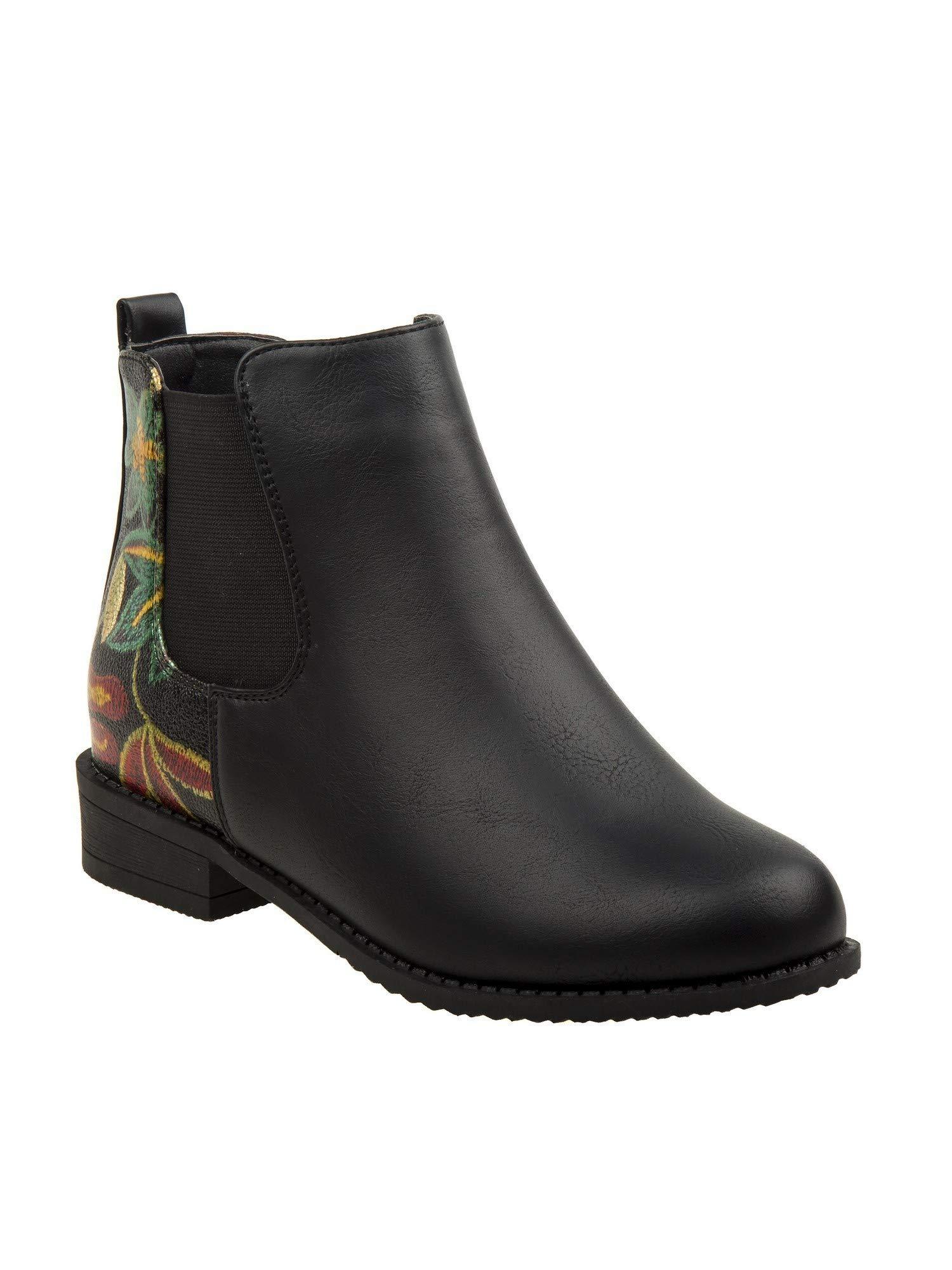 Nanette Lepore Girls Black Multi Flower Embroidered Chelsea Boots 4 Kids