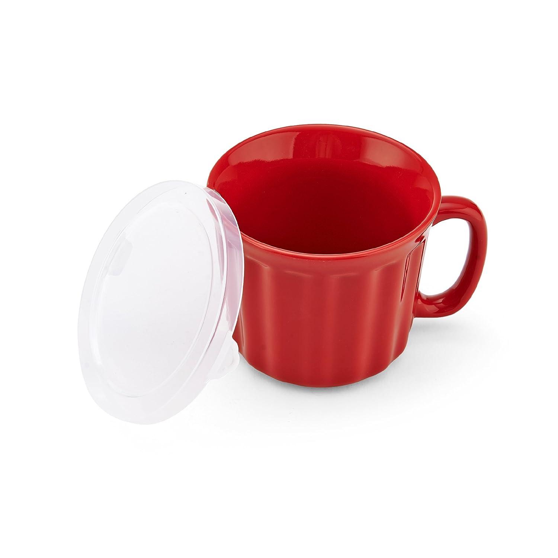 Baker's Advantage Ceramic Soup Mug with Lid, Red Baker's Advantage 5161234