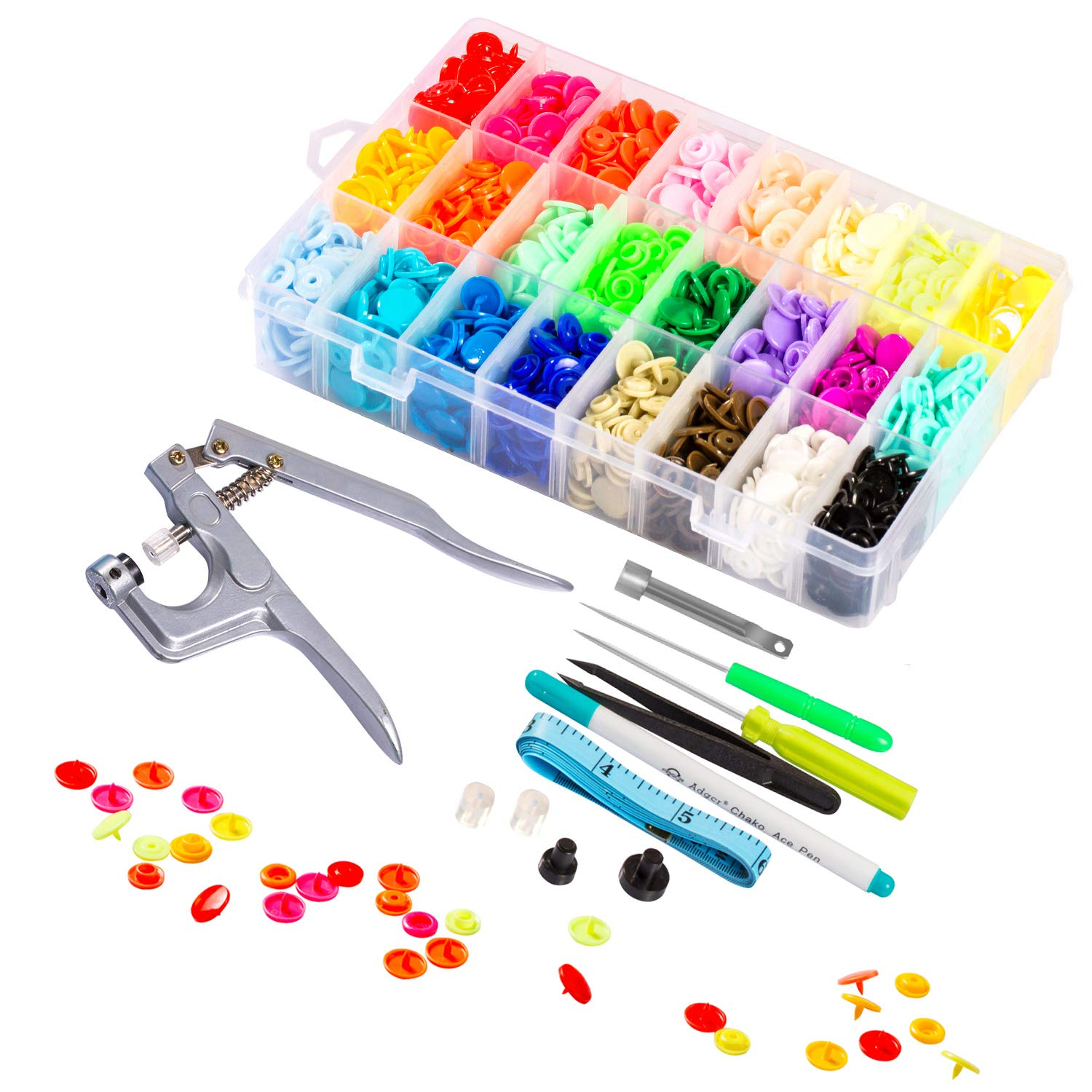 Lynda Snaps and Snap Pliers Set, 360 Sets T5 Plastic Buttons for Sewing and Crafting by LYNDA