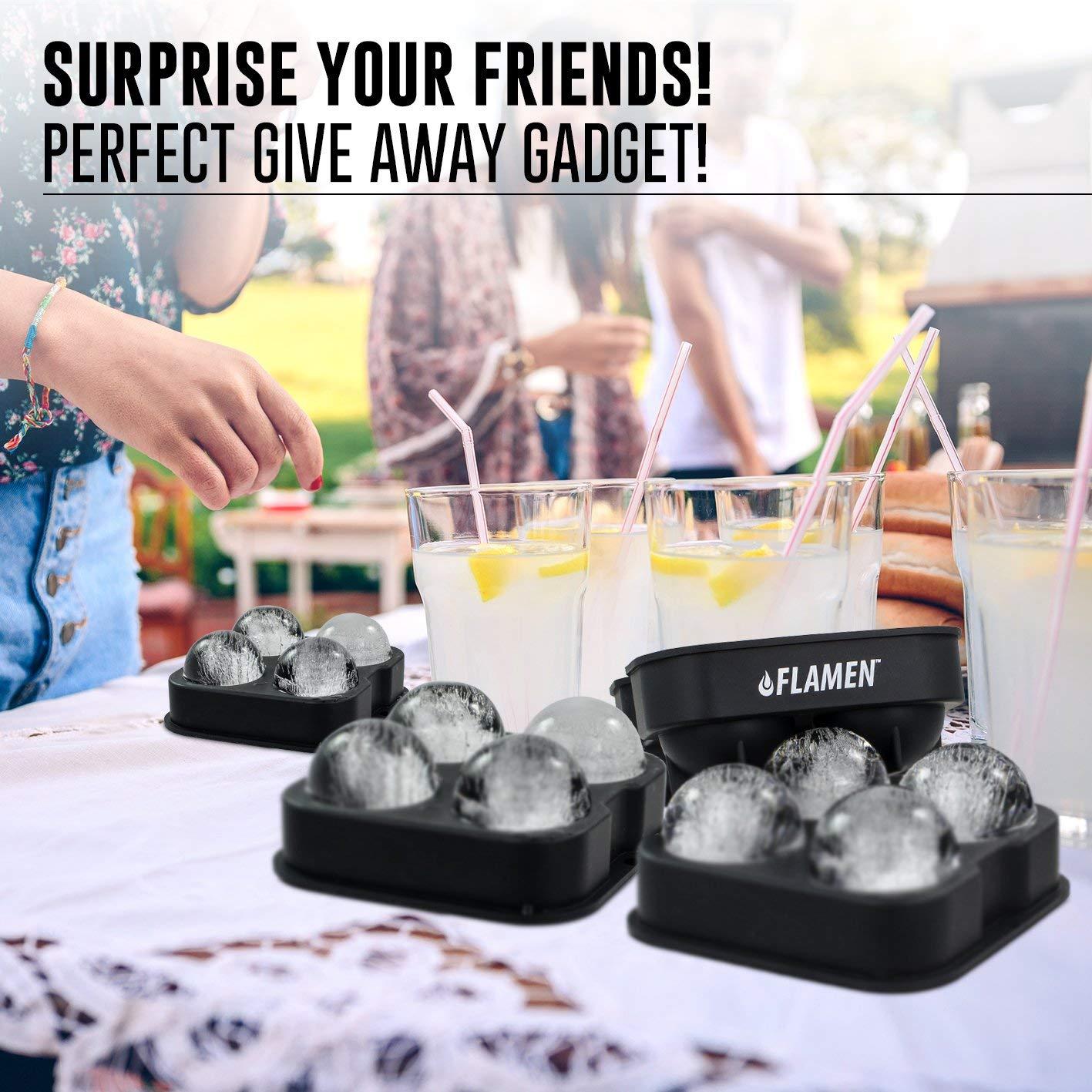 Molde de la bandeja de bolas de hielo con tapa, silicona flexible de grado, cubo de bolas de hielo para whisky y cócteles: Amazon.es: Hogar