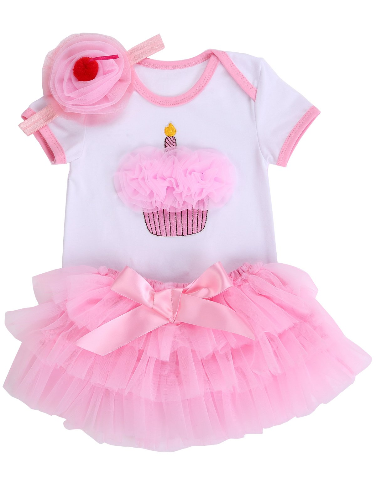 Smilsheep Bridesmaid Prom Christmas Evening Formal Girls Dress Baby Girl Clothes Pink Cake 10-18Months/31-35''/24.5-30 lb