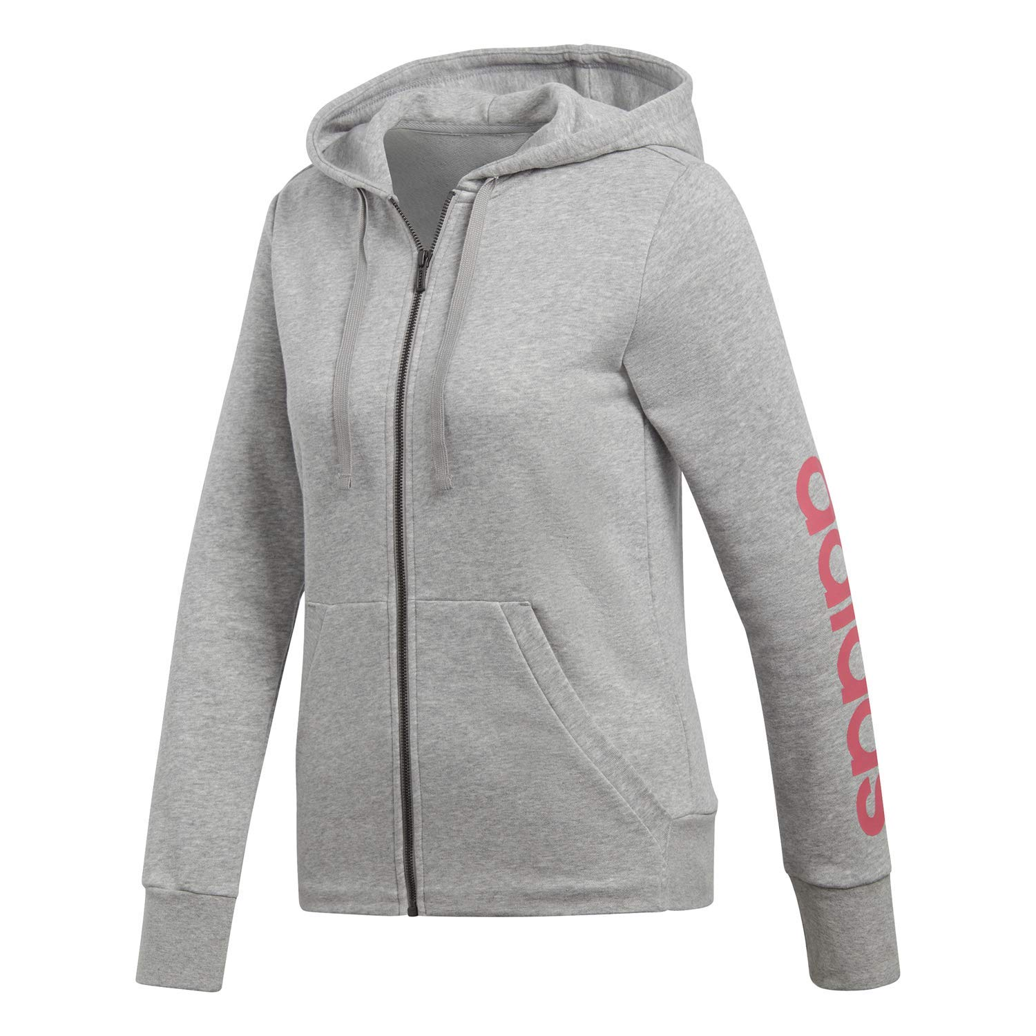 adidas Women's Essentials Linear Full Zip Fleece Hoodie, Medium Grey Heather/Real Pink, Small by adidas