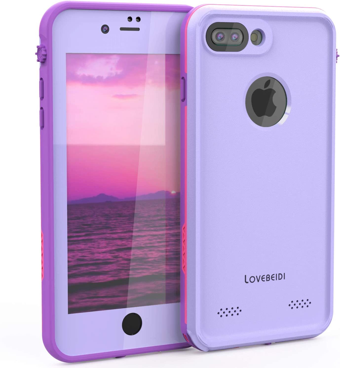 "LOVE BEIDI iPhone 8 7 Plus Waterproof Case Cover Built-in Screen Protector Fully Sealed Life Shockproof Snowproof Underwater Protective Cases for iPhone iPhone 8 7 Plus 5.5"" (Purple/Rose/Orchid)"