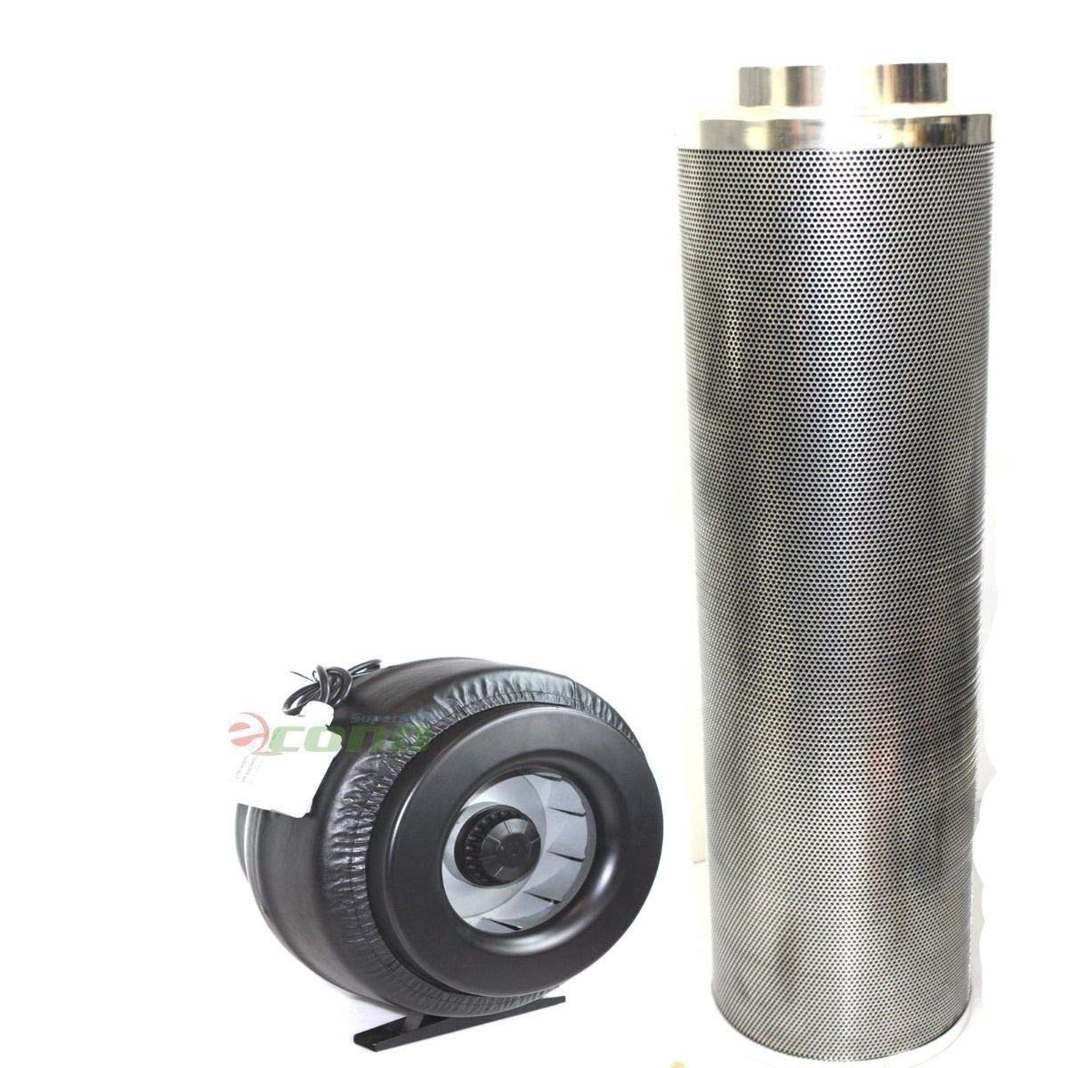 9TRADING 8'' x 42'' Carbon Air Filter Pro Combo 8 Inch Inline Fan Inline Exhaust Hydroponic by 9TRADING (Image #1)