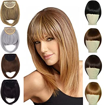 Amazon Com 8 Two Side Hair Clip In On Hair Bangs Fringe Forehead