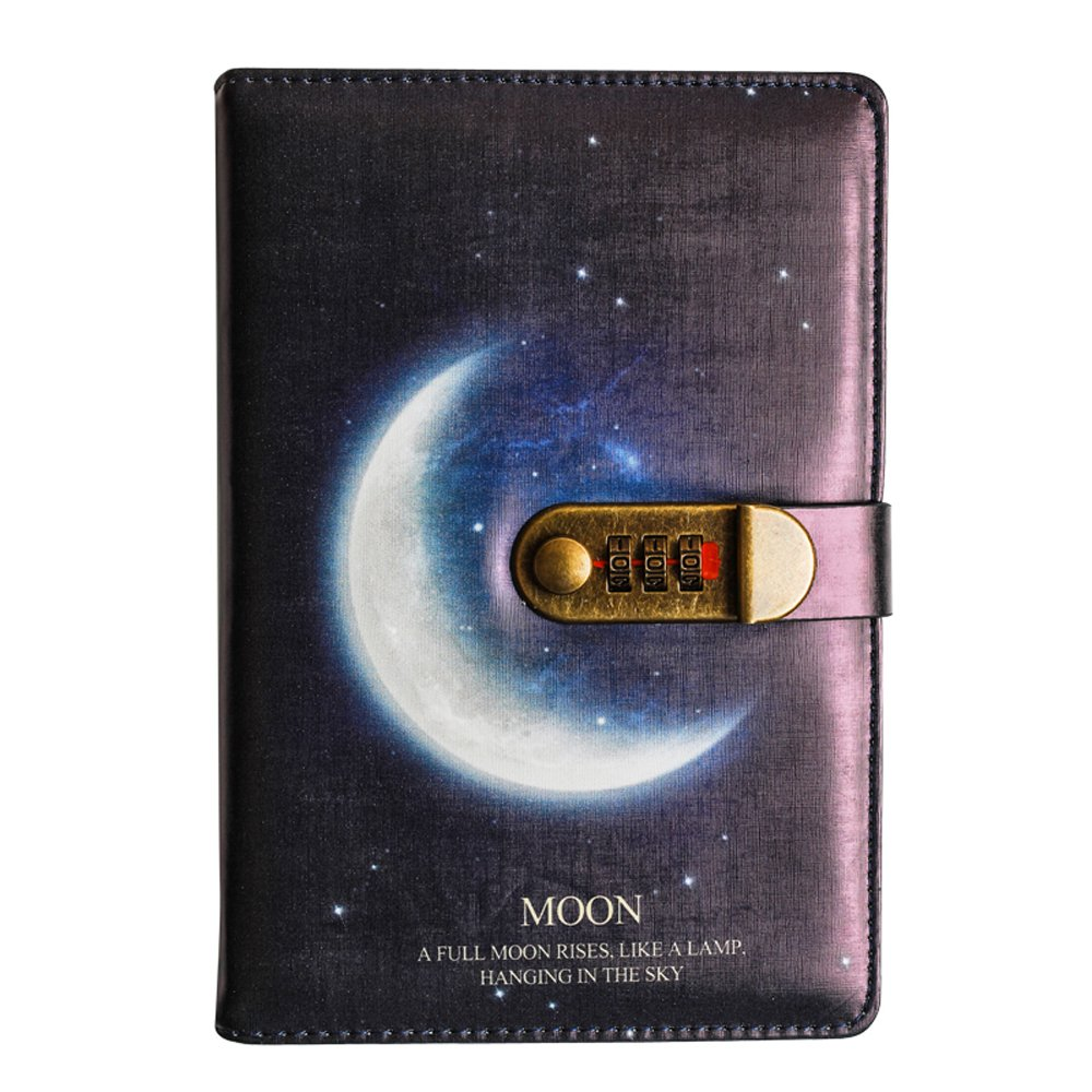 Starry Series PU Leather Diary with Lock, A5 Size Diary with Combination Lock Password Journal Student Stationery Record Book Business Office Notepad