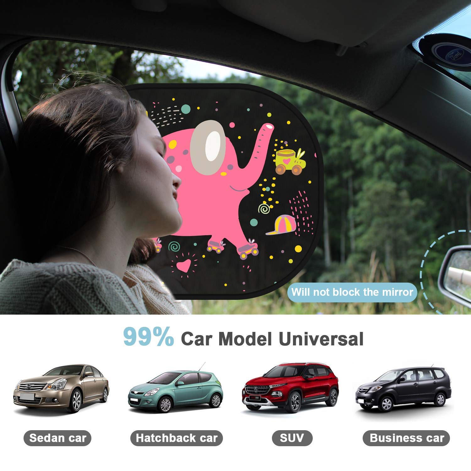 Elephant Car Sun Shade Car Window Shades for Kids Baby Pet UV Rays//Sunlight Protection Car Sunshades Shield Visor for Children with PVC Adsorption Electrostatic for Car Side Windscreen Window