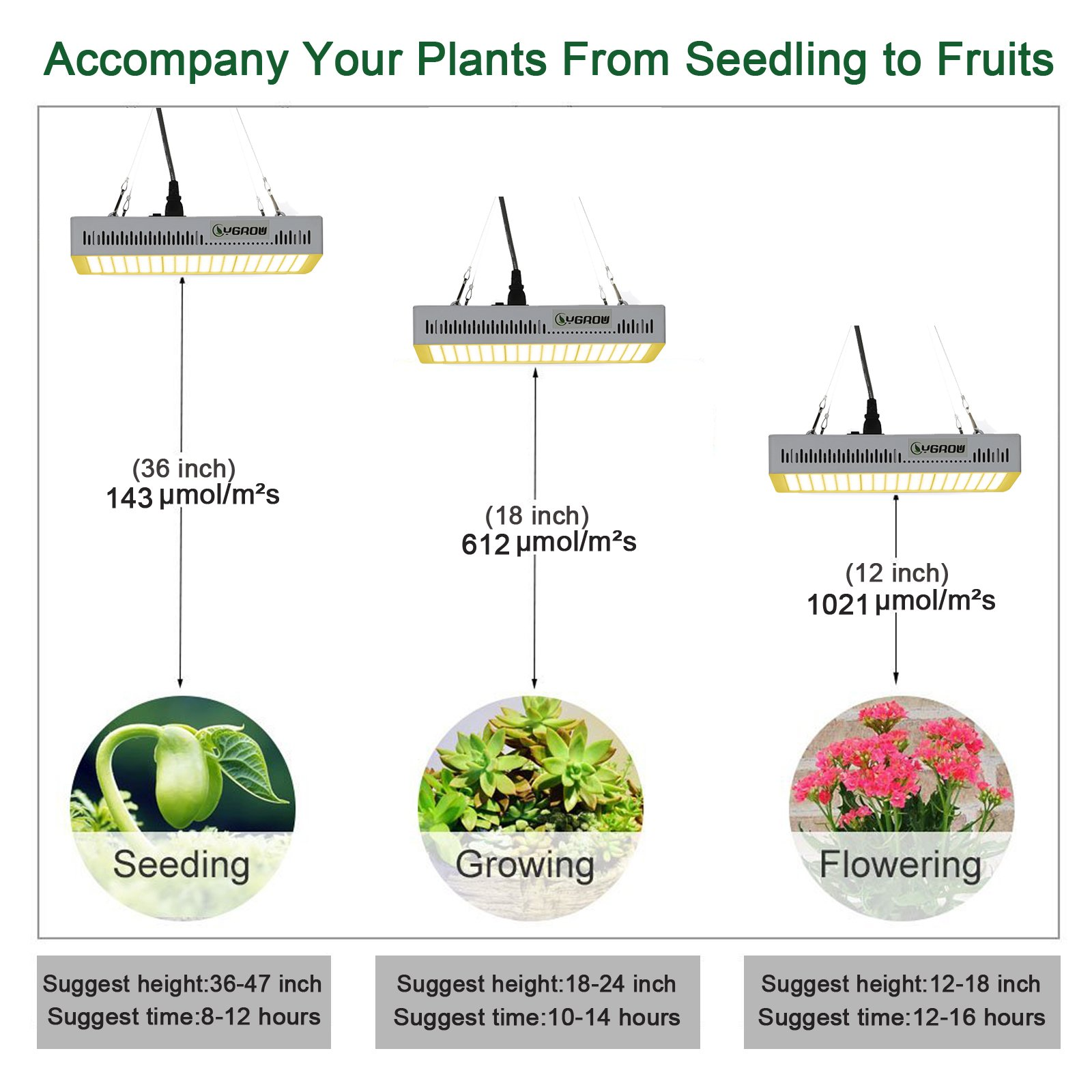 YGROW LED Grow Light Full Spectrum 600W,Reflector-Series Plant Grow Lights for Indoor Plants Veg and Flower with Heatproof Casing 3500K by YGROW (Image #5)