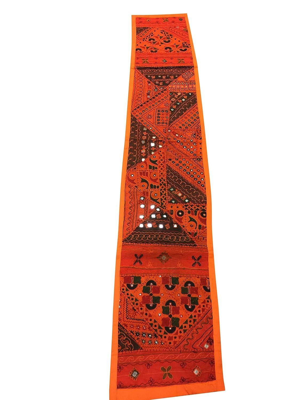 Mogul interior marroquí camino de mesa naranja sari bordado ...