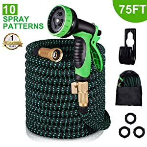 monyar Garden Hose Expandable Water Hose 75 Feet,Extra Strenght/No-Kink Lightweight/Durable/Flexible/10 Function Spray Hose Nozzle 3/4 Solid Brass Connectors Garden Hose for Watering/Washing