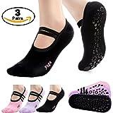 Yoga Socks 3 Packs of Non Slip Skid Barre Pilates Grips Dance Fitness Socks for Women By Leoter