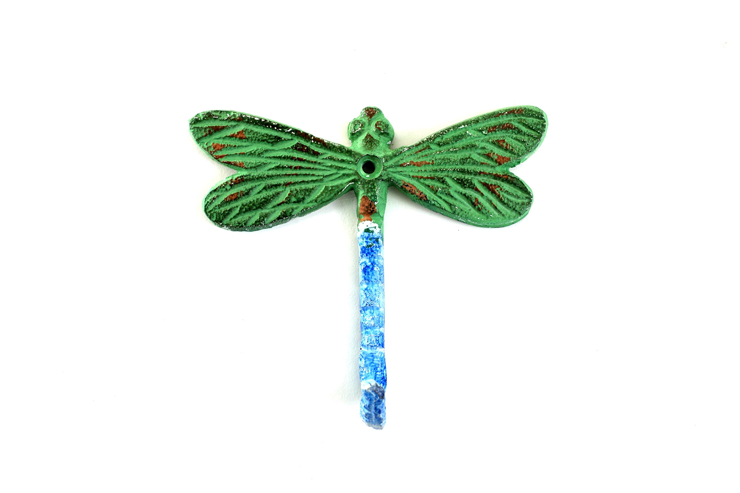 Dragon Fly Hook in Blue Green Distressed Finish (Set of 3)