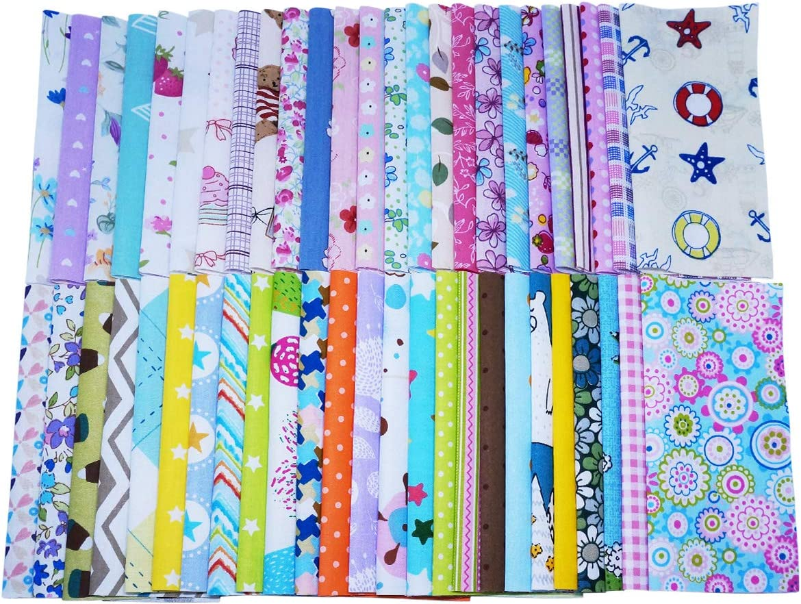 30X30cm Gnognauq 50 Sheets Fabric Squares Sheets Cotton Craft Fabric Bundle Squares Patchwork with Different Patterns for DIY Sewing Quilting Patchwork Crafts