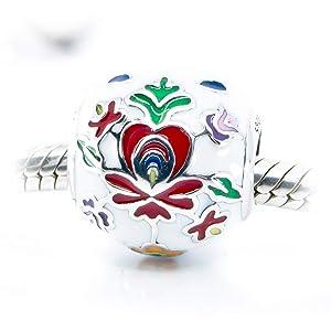 Folk Art Inspired Flower Enamel & Sterling Silver Charm Bead S925, Red Green White Blue Enamel Silver Flower Charm Bead pendant, Hungarian Folklore Matyo Charm, Floral Jewellery, fits Pandora
