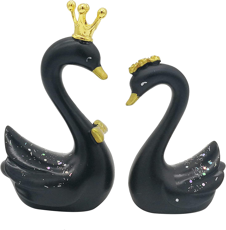 Seninda Cute Black Swans for Decoration Shelf Display Home Ornaments Resin Swan Couple Statue Home Decor Desktop Accessory