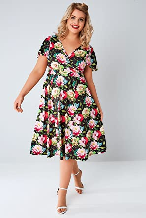 4cada3308e2c9 YoursClothing Plus Size Womens Lady Voluptuous Black & Floral Lotus Lyra  Dress Size 16 Multi
