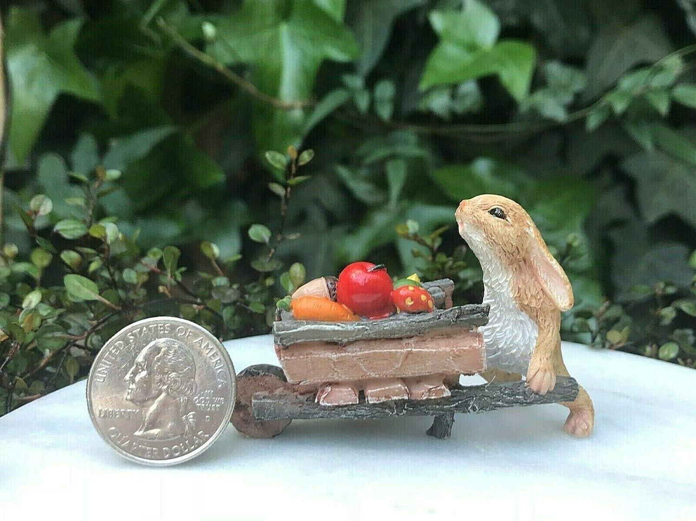 Fairy Garden Mini Rabbit Pushing Wheelbarrow with Harvest