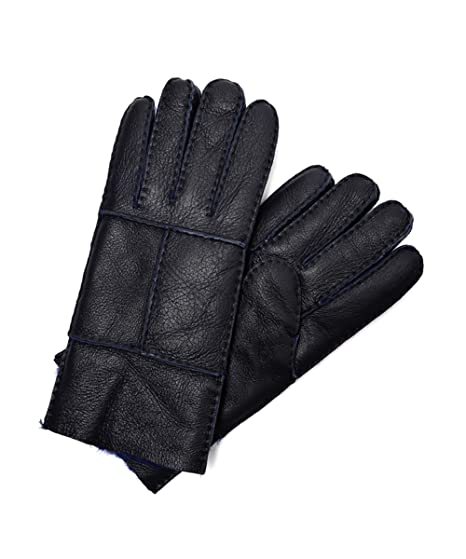 4b5c9d095db92 YISEVEN Men's Rugged Sheepskin Mittens Shearling Leather Gloves Mittens  Sherpa Fur Flip Cuff Thick Wool Lined