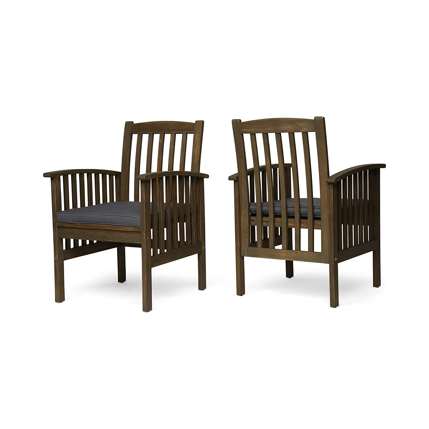 Amazon com great deal furniture phoenix acacia patio dining chairs acacia wood with outdoor cushions gray and dark gray set of 2 garden outdoor