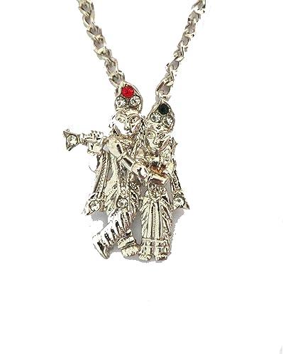 Modish look radha krishna locket with silver chain amazon jewellery modish look radha krishna locket with silver chain aloadofball Images
