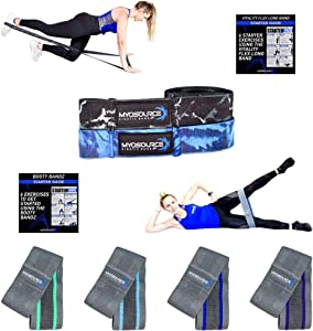 Vitality Flex Full Body Workout Kit - Long Fabric Resistance Band + Booty Glute Hip Bands for Women - Easy Grip Non-Slip Portable Exercise Bands - Full Body Home Gym Fitness Strength Training Workouts