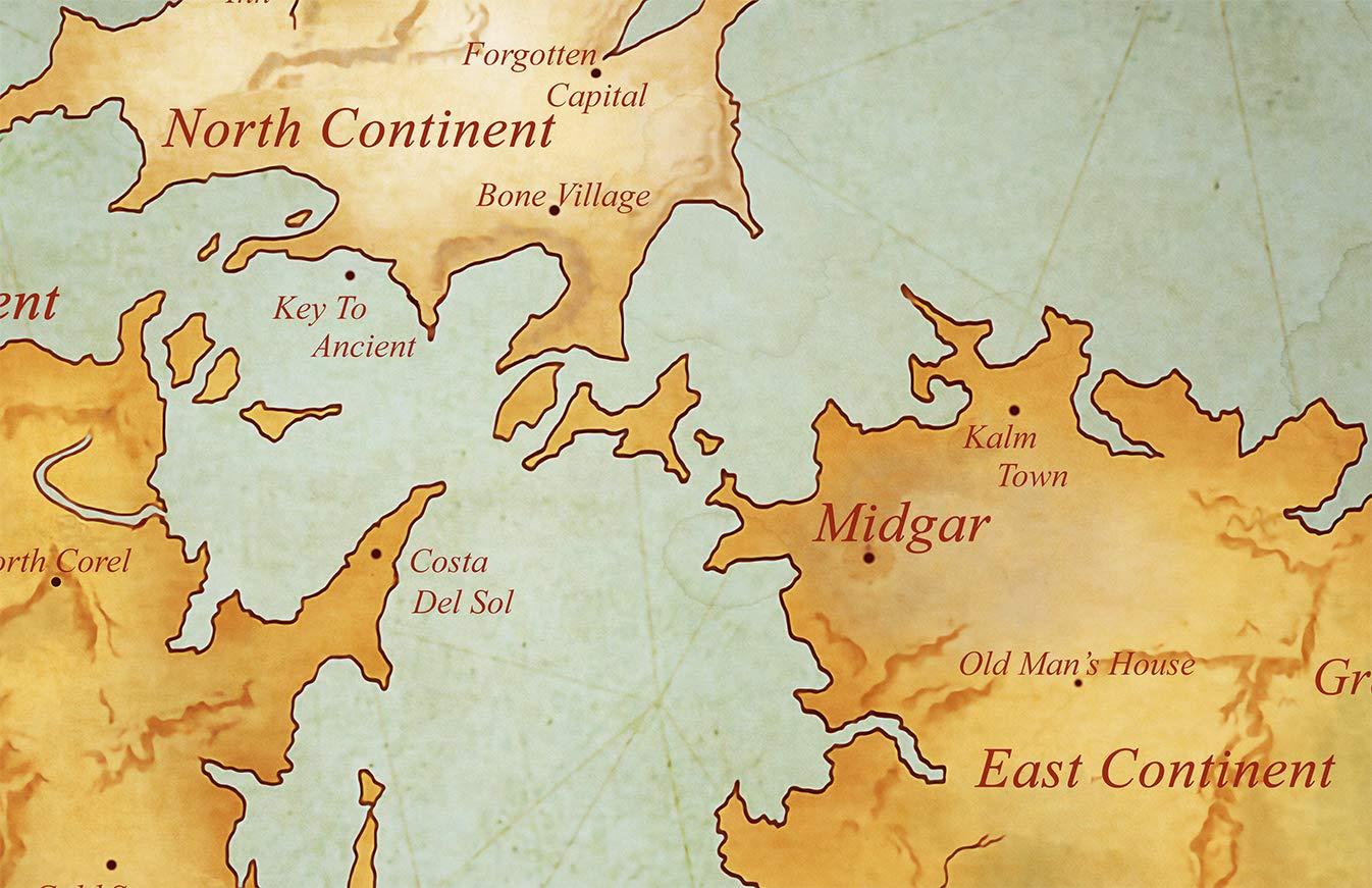 Amazon Com Best Print Store Final Fantasy 7 Gaia World Map Poster