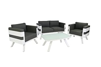 Gartenmöbel set alu weiß  Amazon.de: greemotion Alu Lounge-Set St. Tropez, 4-teilig ...