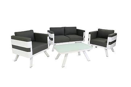 greemotion Alu Lounge-Set St. Tropez, 4-teilig, Gartenmöbel-Set aus  Aluminium inkl. Kissen, Design Sitzgruppe für Indoor & Outdoor, weiß/grau