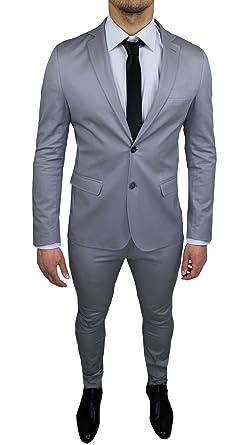 Abito Uomo Sartoriale Grigio Chiaro Completo Vestito Slim Fit Made in Italy  Cotone Elegante e da Cerimonia  Amazon.it  Abbigliamento 27e3e289bcb