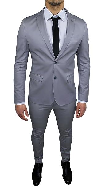 Abito Uomo Sartoriale Grigio Chiaro Completo Vestito Slim Fit Made in Italy  Cotone Elegante e da Cerimonia  Amazon.it  Abbigliamento 6038ce6c7d3