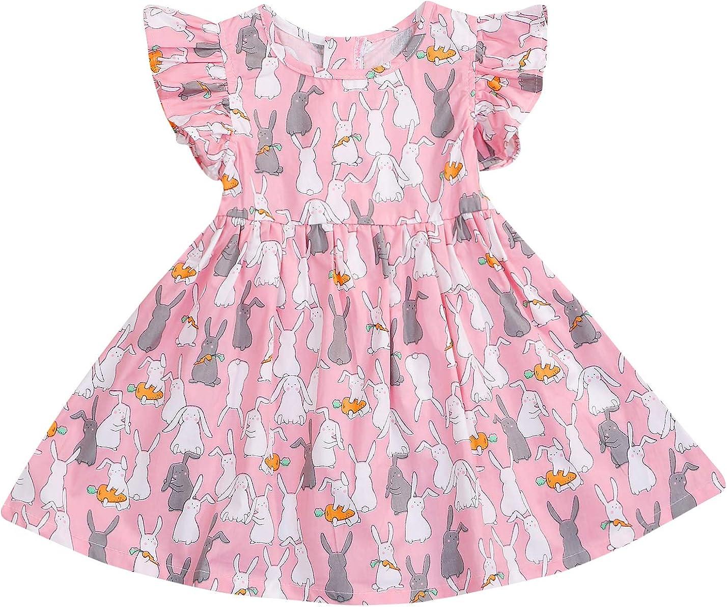 YOUNGER STAR Toddler Kids Baby Girl Skirt Summer Short Sleeve Princess Dress Clothes Outfits Light Pink