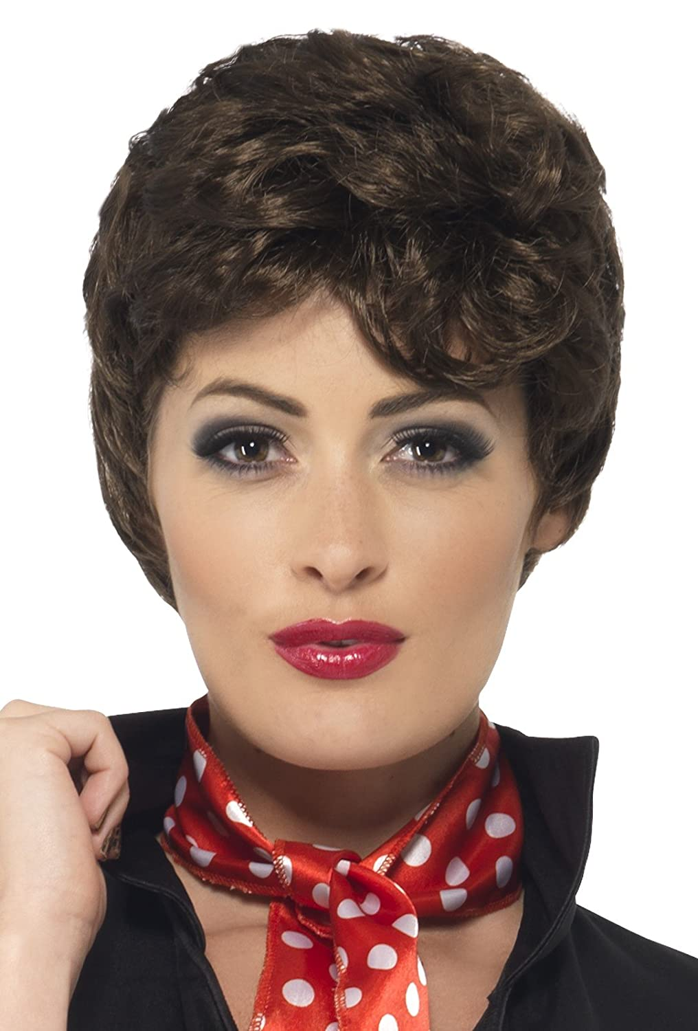 Vintage Hair Accessories: Combs, Headbands, Flowers, Scarf, Wigs Brown Short Grease Rizzo Wig $16.65 AT vintagedancer.com