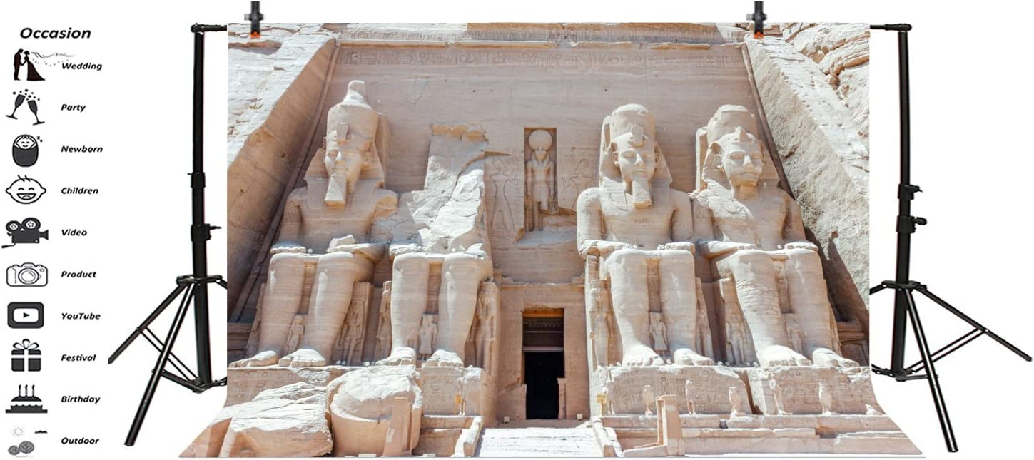 LFEEY 5x3ft Egypt Pharaoh Tomb Backdrop Egyptian Pyramid Abu Simbel Temple Four Giant Stone Statues Ramses Old Ruins Archaeology Historical Building Background for Photography Photo Studio Prop