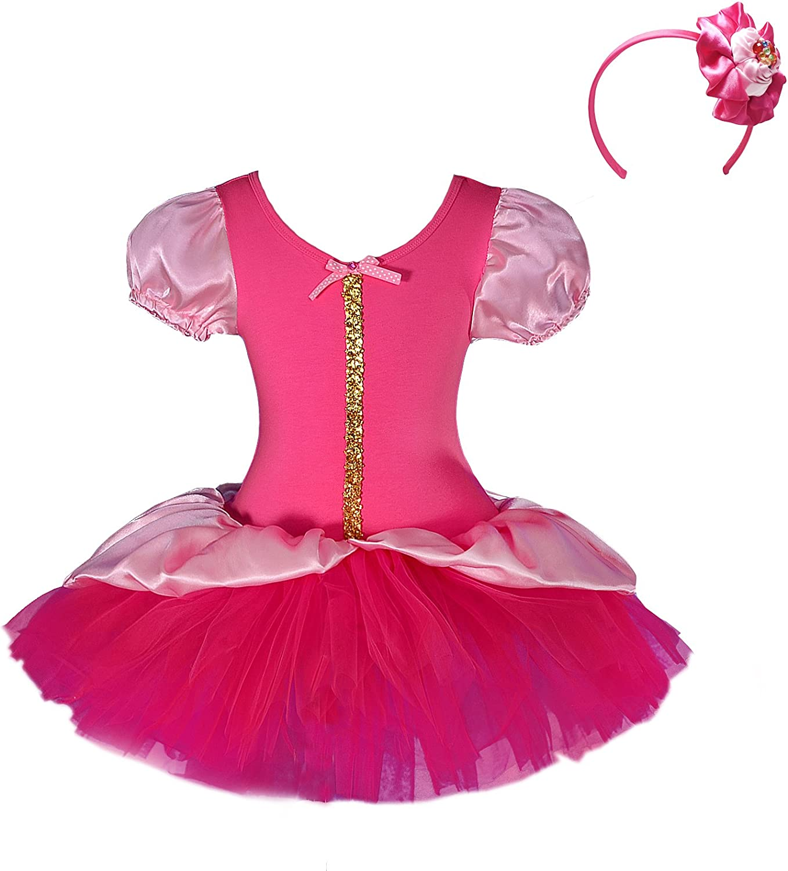 Dressy Daisy Girls' Princess Sequin Fairy Costume Fancy Dress + Headband Ballet Tutu Dancewear Size 4T-5 Hot Pink