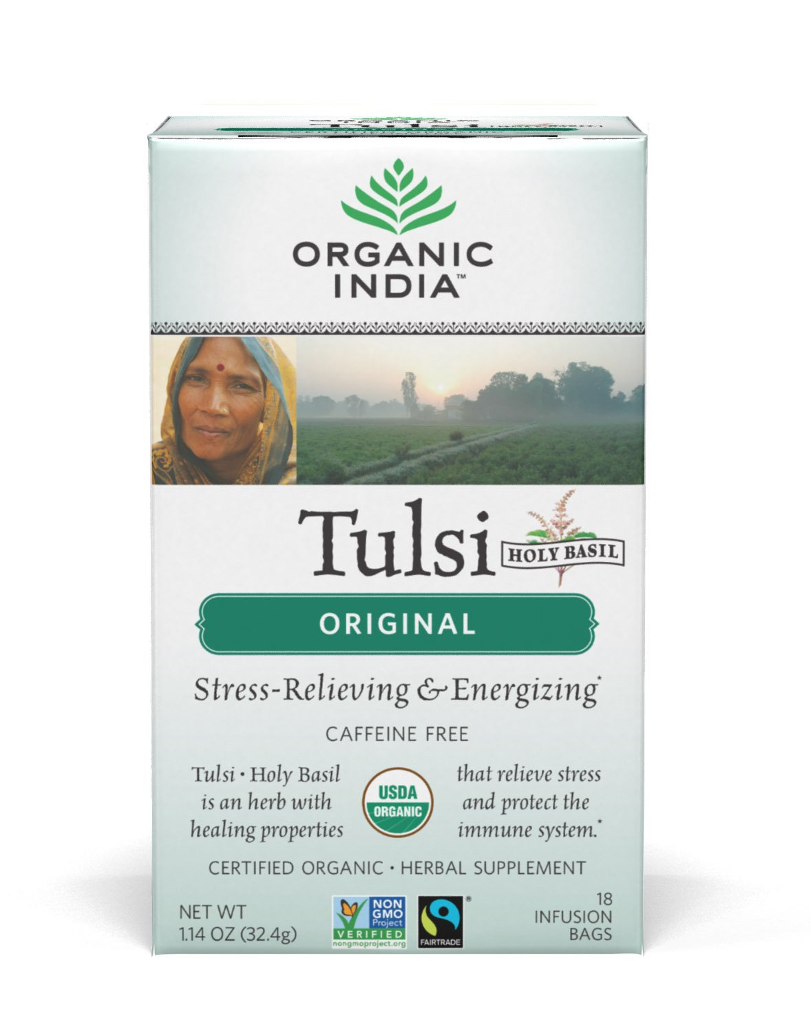 Organic India Tulsi Tea Original, 18-Count Teabags (Pack of 6)