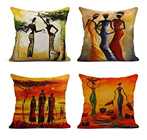 ArtSocket Set of 4 Linen Throw Pillow Covers Oil Painting African Women Decorative Pillow Cases Home Decor Square 18x18 inches Pillowcases