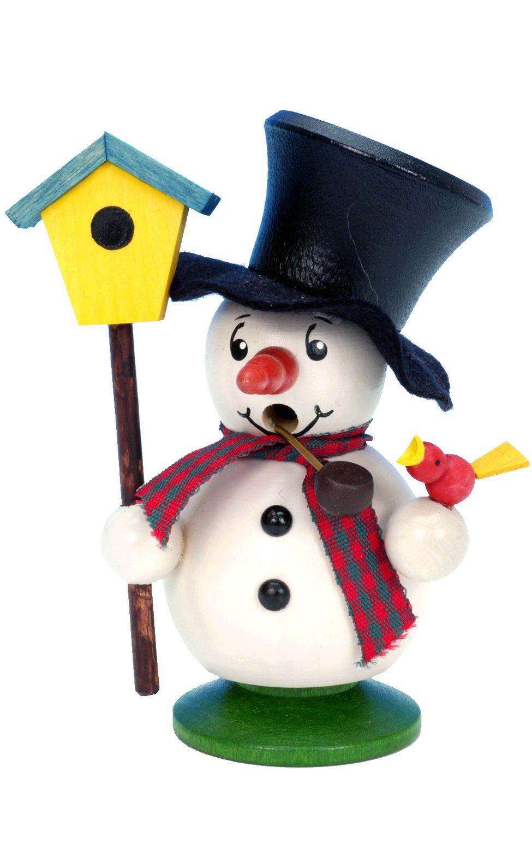 1-016 - Christian Ulbricht Incense Burner - Snowman with Bird and Birdhouse - 4''''H x 3.5''''W x 2.5''''D