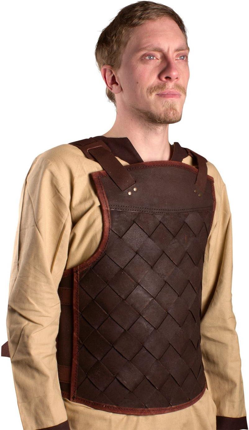 Ready For Battle Larp Hombres Piel Armadura Viking Negro o Marrón Tamaño S de XL Medieval Combate de exhibición Vikingo